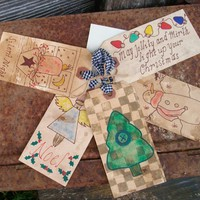 Primitive Christmas Gift Tags - Stained and Grubby - Use for Gifts, Tree Decorations or Craft Projects