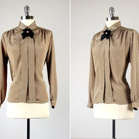 Vintage Blouse /  Vintage Secretary Blouse /  Vintage Neck Bow Blouse