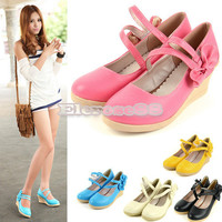 Sweet Casual Round Toe Candy Color Wedge Classic Bowknot High Heels Shoes ElR8