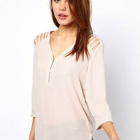 Bqueen Neck Shoulder Strip Chiffon Blouse FQ096