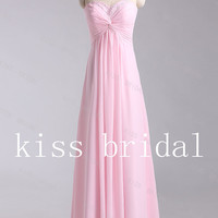 A-line  Sweetheart  Sleeveless Floor-length Elegant Chiffon Beading  Prom Dress 2013