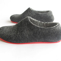Contrast Red Sole Felt Wool Shoes Black Red Non Slip by ekohaus