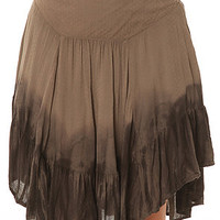 Free People Skirt Dip Dye Asymmetrical Hem in Green and Black