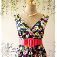 Navy Floral Dress High Waisted Vintage Inspired Dress Cocktail Garden Dress Tea Party Dresses -S-M-