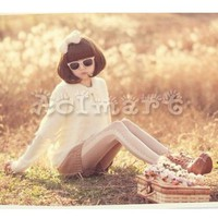 Retro Fashion Beige Hosiery Sexy Lace Dot Stripe Lolita Pantyhose Tights Costume