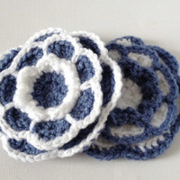Crochet Flower Brooch, Grey Blue and White, Large Yarn Flower Pin, Acrylic Wool Flower