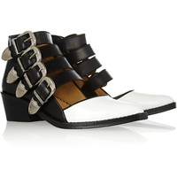 Toga|Buckled leather and patent-leather cutout boots|NET-A-PORTER.COM