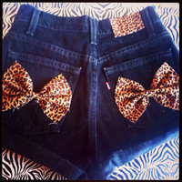 Black Denim Leopard Bow Shorts by AngeliqueMerici on Etsy