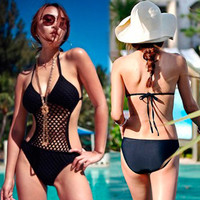 Womens Sexy Mesh Halterneck Monokini One-piece Solids Swimwear Bathing Suits 1eb