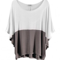 Batwing Sleeves T-Shirt in Color Block