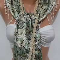 Elegant Scarf. Soft and light  green beige flovered