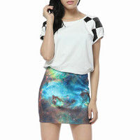 Starry Night — Blue Galaxy Color Printing Mini Skirt