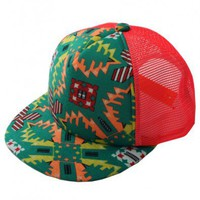 Colored Geometric Print Cap with Grid Sheer Panel