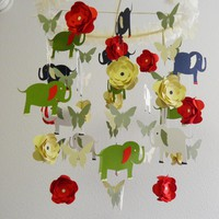 Elephant, Flower and Butterfly Baby Mobile