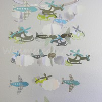 Airplane, Helicopter and Cloud Baby Paper Mobile in Blue and Gray