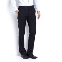 Cigarette-Style Suit Trousers with Zip Fly