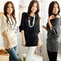 HOT Womens Batwing 1/2 Sleeve Off Shoulder Hip-Length Knit Tops T-Shirt Tee Tops