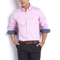 Long-Sleeved Straight Cut Oxford Weave Cotton Shirt
