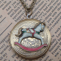 Steampunk Rocking Horse Locket Necklace Vintage by sallydesign