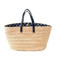 MADAME à PARIS Wicker Bag with Leather Handle