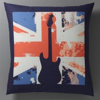 ROCK LONDON Union Jack and Guitar Print Cotton Pillowcase