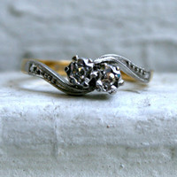 Swirly Antique 18K Yellow Gold/ Platinum Diamond Engagement Ring - 0.10ct.