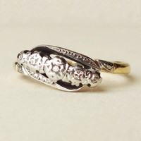 Antique Art Deco Diamond Eternity Ring, Platinum and 18k Gold Five Diamond Engagement Ring Approx Size US 5.5