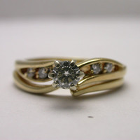 14k Yellow Gold Diamond Engagement Ring and Band