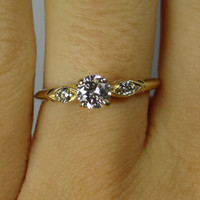 Petite Yellow Gold Diamond Shoulder Engagement Ring - RGDI350P