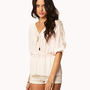 Lace-Paneled Chiffon Blouse