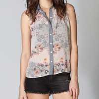 FULL TILT Chambray Placket Floral Womens Top 212518957 | Blouses &amp; Shirts | Tillys.com