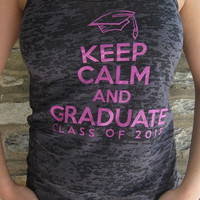 Graduation Tank -- Black -- Keep Calm and Graduate -- Class of 2013