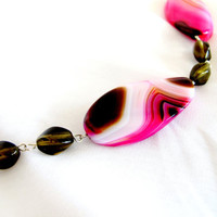 Smokey quartz necklace with pink agate gemstones, statement necklace