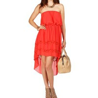 Coral Strapless Lace Chiffon Hi Lo Dress