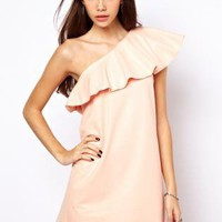 Starry One Shoulder Embossed Shift Dress