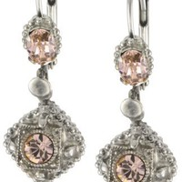 "Sorrelli ""French Blush"" Crystal Vintage Style Silvertone Drop Earrings"