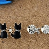 Cat and Fish Unsymmetrical Earrings | LilyFair Jewelry