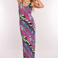 Magenta Multi Animal Print Maxi Dress