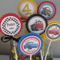 Disney CARS 2Personalized Cupcake Toppers Lightning McQueen Tow Mator Boys by Time2celebrate