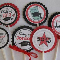 Personalized Graduation Cupcake Toppers High school College Kindergarten Your by Time2celebrate