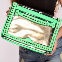 Neon Green Spike Studded Clear Clutch Handbag