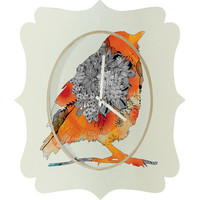 DENY Designs Home Accessories | Iveta Abolina Orange Bird Quatrefoil Clock