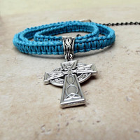 Men&#x27;s Celtic Cross Necklace:  Neon Turquoise Blue Macrame Cord Unisex Jewelry, Father&#x27;s Day