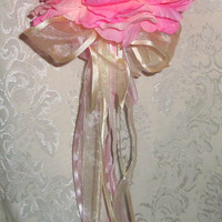Flower Girl Basket Alternative Wand Pink Shabby Chic Peony Bridal Wedding Accessories Basket Alternative