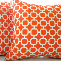 Mandarin orange geometric pillow cover 18 x 18
