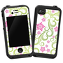 Pink Floral and Green Swirls Skin for Lifeproof iPhone 4/4s Case