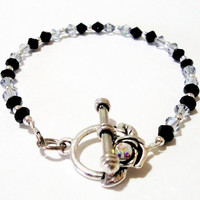 Black Grey  Gray Crystal Bicone Silver Toggle Clasp Beaded Bracelet, Prom, Bridal Mothers Day Gift