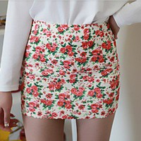 retro shivering flower short skirt
