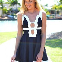 Black Dress with White Trim and Cutout Front &amp; Back Detail