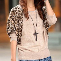 Leopard elegant grain knitting piece together sweater